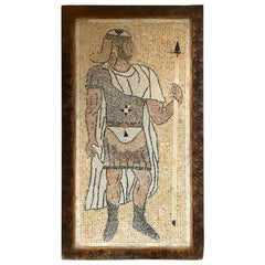Micro Mosaic Italian Tile Wall Plaque or Table Top of a Centurion in Wood Frame