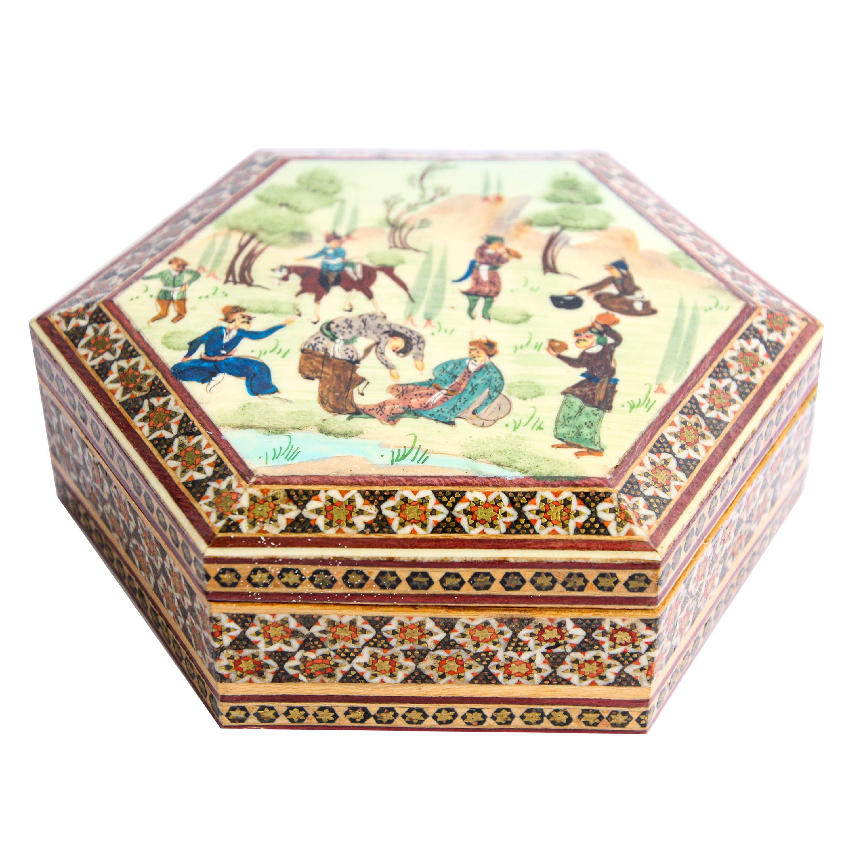 Micro Mosaic Moorish Inlaid Jewelry Trinket Box