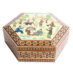 Micro Mosaic Moorish Inlaid Jewelry Trinket Box