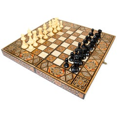 Micro Mosaic Syrian Style Wooden Inlaid Marquetry Box Game Backgammon and Chess