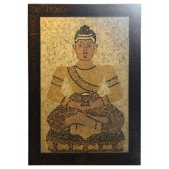 Micro Mosaic Tile Wall Plaque or Table Top of a Seated Woman in Wood Frame