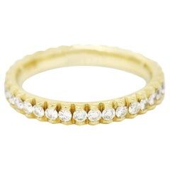 Micro Pavé 14 Karat Yellow Gold 0.75 Carat Diamond Wedding Band Ring