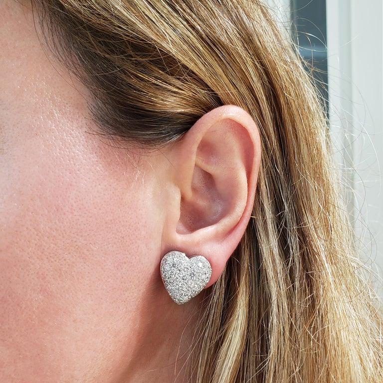 Contemporary Roman Malakov, Micro-Pave Diamond Heart Shape Omega Clip Earrings For Sale
