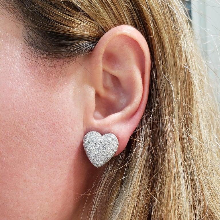 Round Cut Roman Malakov, Micro-Pave Diamond Heart Shape Omega Clip Earrings For Sale
