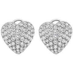 Micro-Pave Diamond Heart Shape Omega Clip Earrings