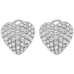 Roman Malakov, Micro-Pave Diamond Heart Shape Omega Clip Earrings
