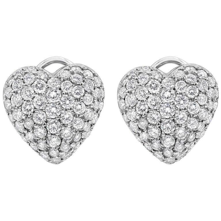 Roman Malakov, Micro-Pave Diamond Heart Shape Omega Clip Earrings For Sale