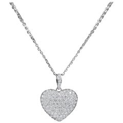 Micro Pave Round Diamond Heart Pendant 3.00 Carat Necklace in 18 Karat Gold