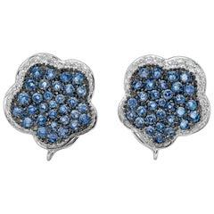 Micro-Pave Set Blue Sapphire and Diamond Flower Earrings