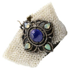 Micro Pearl Tanzanite Welo Opal Diamond Gold and Silver Choker Bracelet