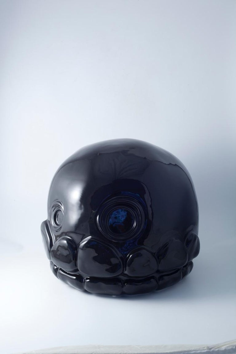 Italian Microbo Ceramic Sculpture Model Skull by Superego Editions, Italy For Sale