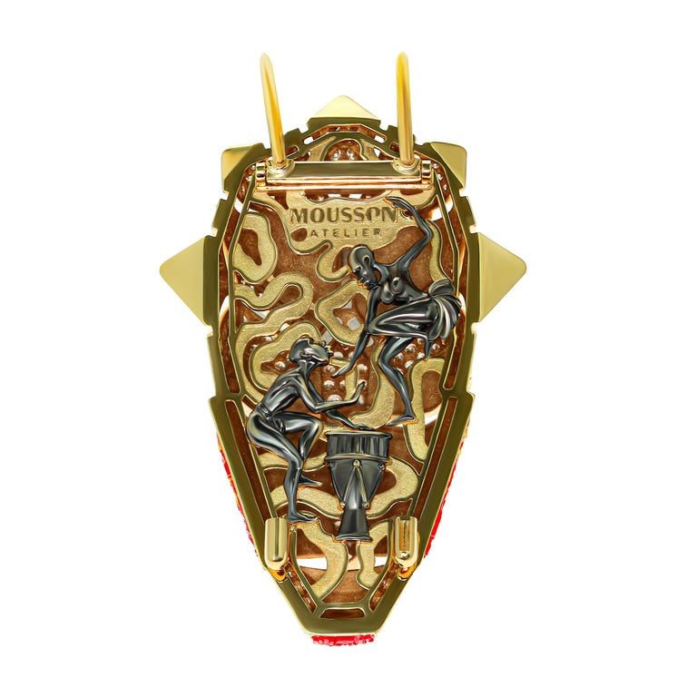 Micromosaic Champagne Diamonds 18 Karat Yellow Gold Shaman Mask Brooch Inspired by shamanic tribes of unseen central Africa. Feel the mystical drums vibes and listen unknow traditional songs.  Use this brooch like an amulet. It will attract only