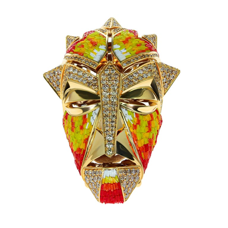 Arts and Crafts Micromosaic Champagne Diamonds 18 Karat Yellow Gold Shaman Mask Brooch For Sale