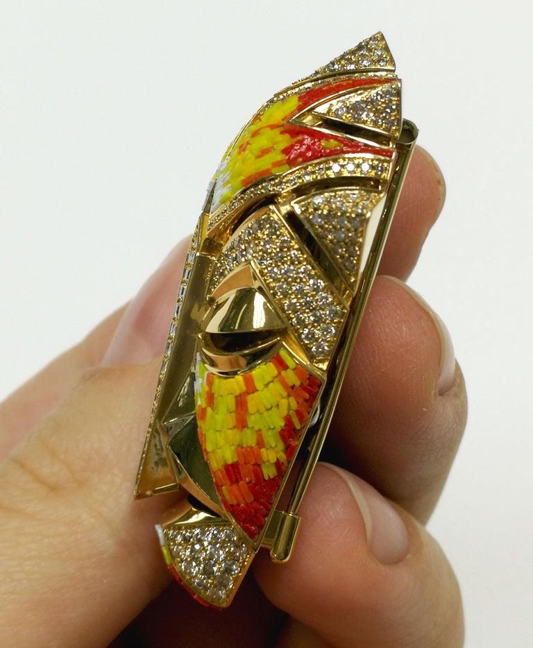 Women's or Men's Micromosaic Champagne Diamonds 18 Karat Yellow Gold Shaman Mask Brooch For Sale