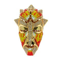 Micromosaic Champagne Diamonds 18 Karat Yellow Gold Shaman Mask Brooch