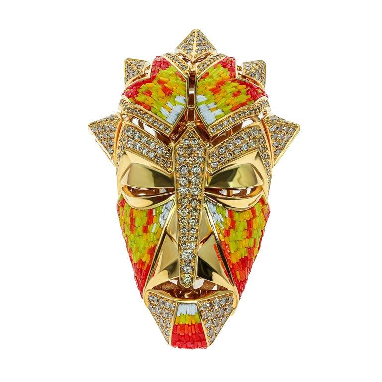 Micromosaic Champagne Diamonds 18 Karat Yellow Gold Shaman Mask Brooch For Sale