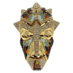 Micromosaic Champagne Diamonds 18 Karat Yellow Gold Shaman Mask Brooch Pendant