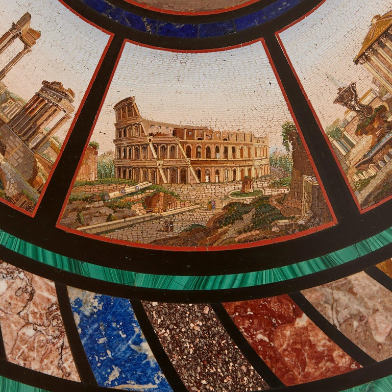 Micromosaic Circular Table, Attributed to the Vatican Mosaic Workshop In Good Condition For Sale In London, GB