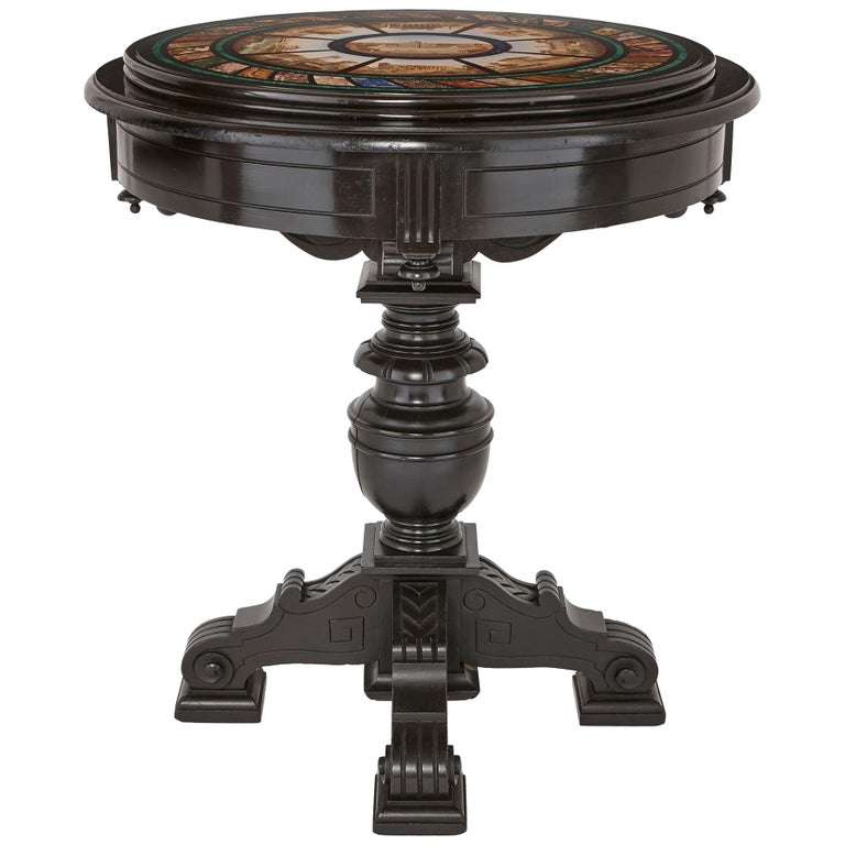 Micromosaic Circular Table, Attributed to the Vatican Mosaic Workshop For Sale