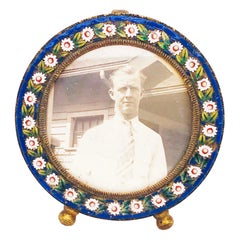 Micromosaic Frame, Micro Mosaic Small Frame with Blue and White, circa 1869