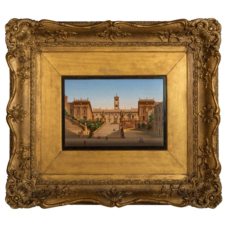 Micromosaic Picture, Mid-19th Century View of the Campidoglio For Sale
