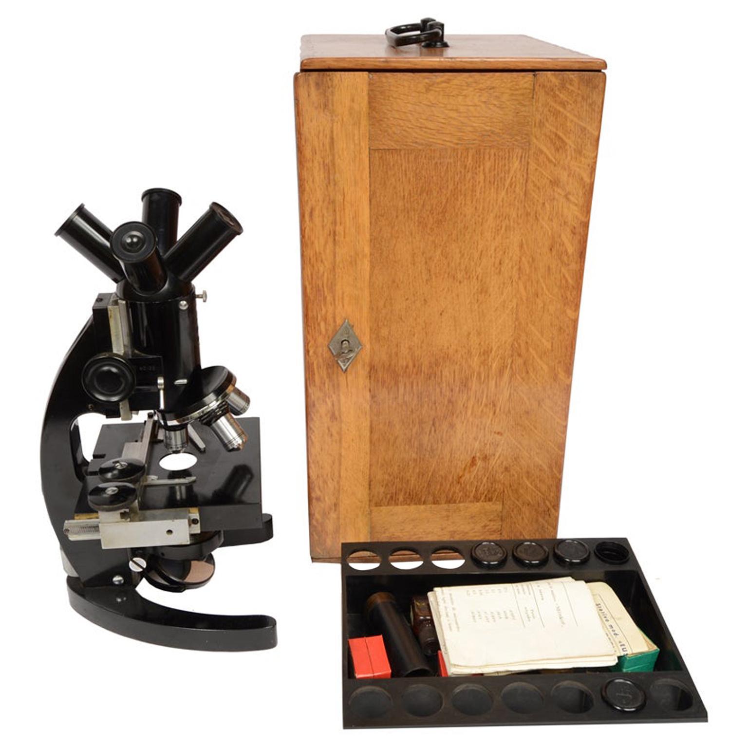 Milan 1910/20 F.lli Koristka Antique Microscope  Wooden Box with Accessories