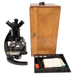 Microscope by F.lli Koristka Milan 1910/20 Wooden Box with Accessories