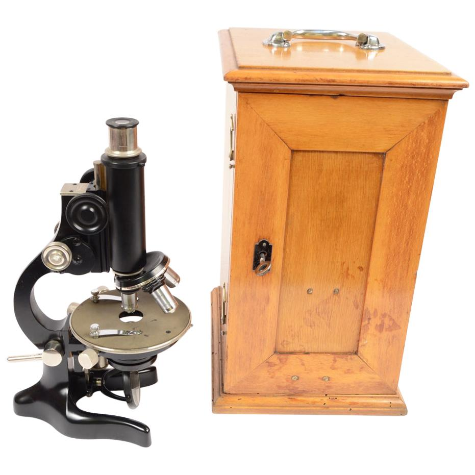 Milan 1920/30 Antique Microscope by F.lli Koristka Wooden Box with Accessories