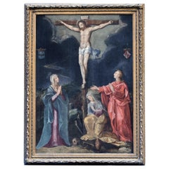 Mid-16th Century Gillis Congnet Cercle Crucifixion Oil on Panel