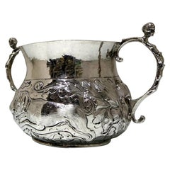 Mid-17th Century Antique Charles II Large Sterling Silver Porringer, London 1665