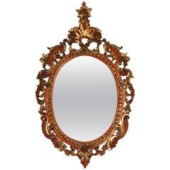 Mid-1800 Baroque Italian Wood Framed Mirror