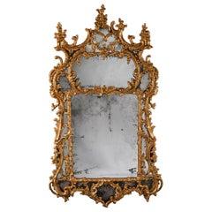Mid 18th c. George II Carton Pierre Gilt Mirror