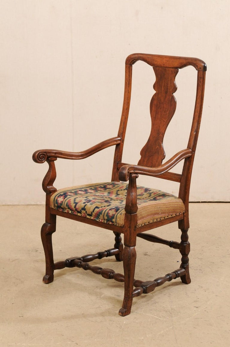 Swedish Period Rococo Armchair with Handwoven Allmoge Textile Seat For Sale 5
