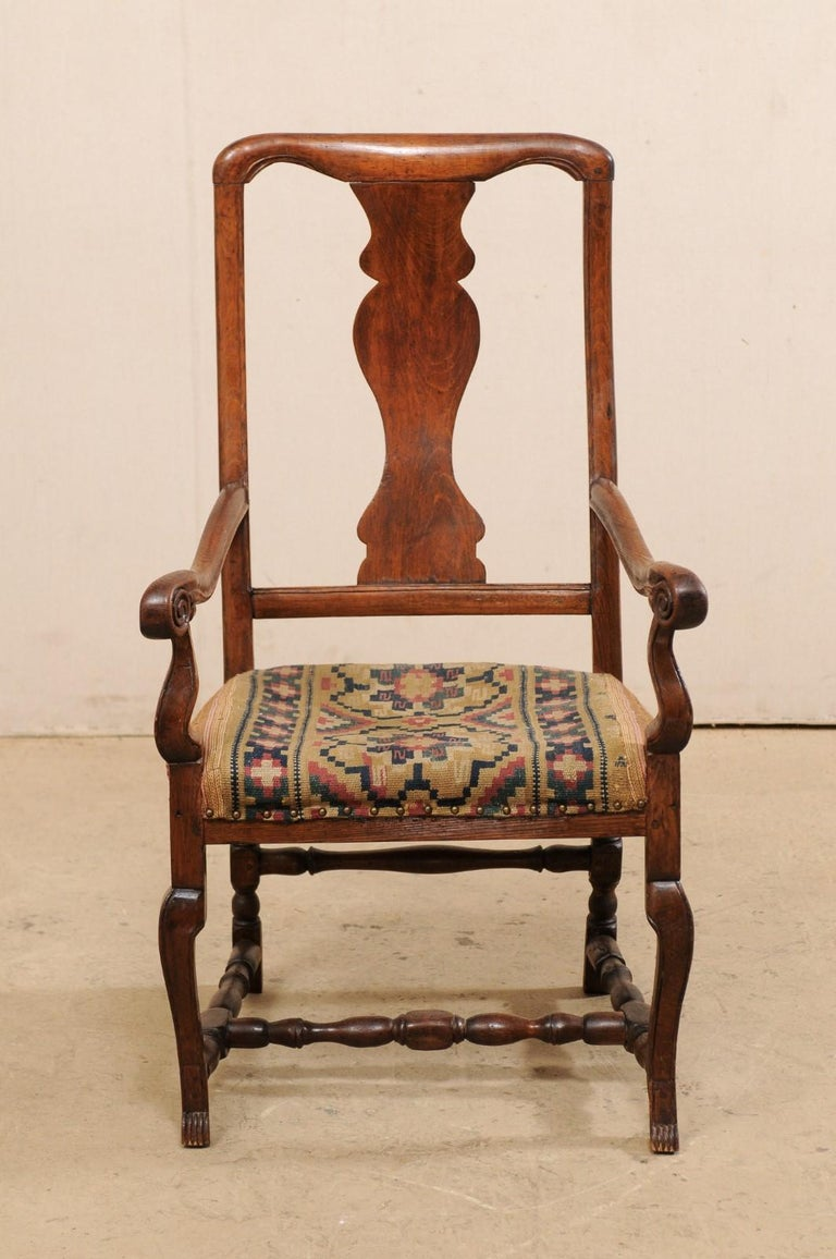Swedish Period Rococo Armchair with Handwoven Allmoge Textile Seat For Sale 6