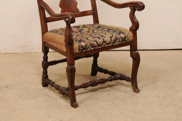 Swedish Period Rococo Armchair with Handwoven Allmoge Textile Seat In Good Condition For Sale In Atlanta, GA