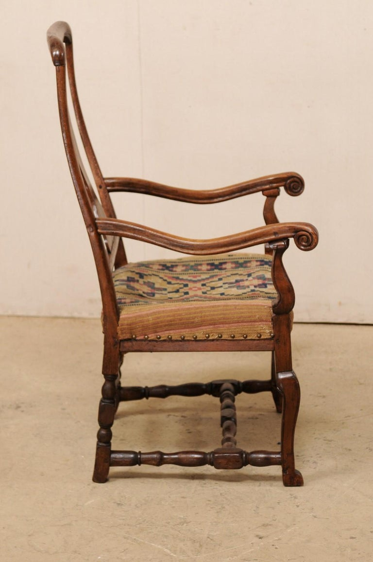 Wood Swedish Period Rococo Armchair with Handwoven Allmoge Textile Seat For Sale