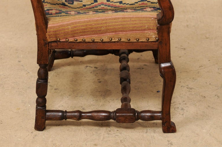 Swedish Period Rococo Armchair with Handwoven Allmoge Textile Seat For Sale 1