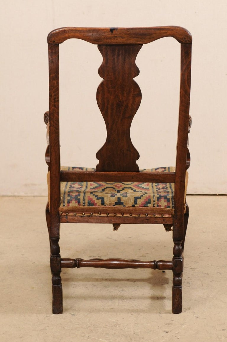 Swedish Period Rococo Armchair with Handwoven Allmoge Textile Seat For Sale 2