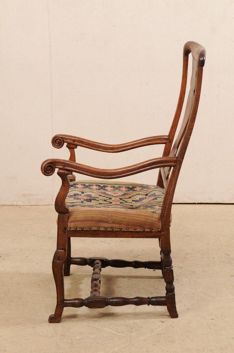 Swedish Period Rococo Armchair with Handwoven Allmoge Textile Seat For Sale 4