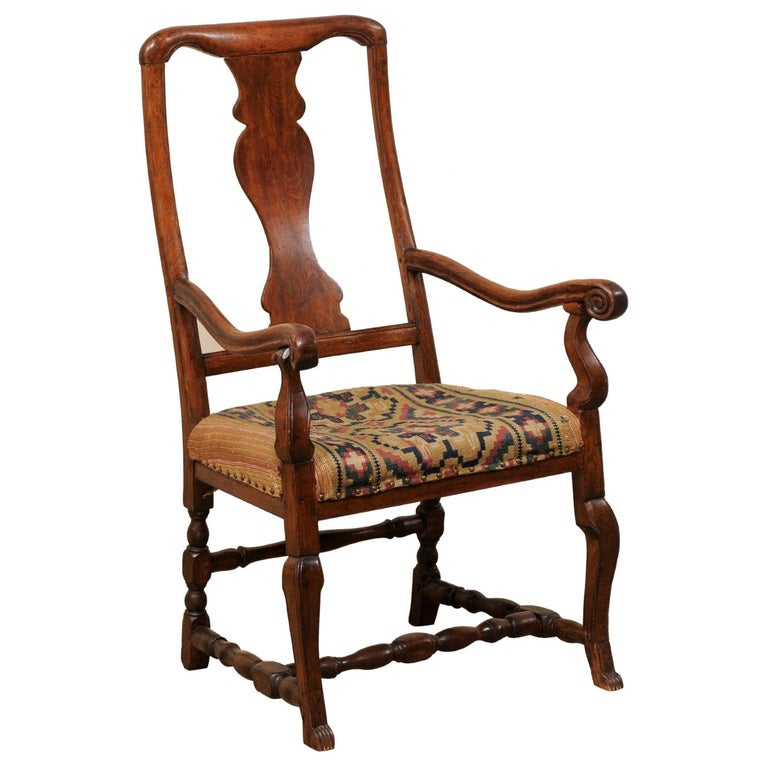 Swedish Period Rococo Armchair with Handwoven Allmoge Textile Seat For Sale