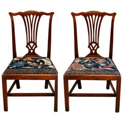 Mid-18th Century American Walnut Chippendale Chairs with Ushak Seats