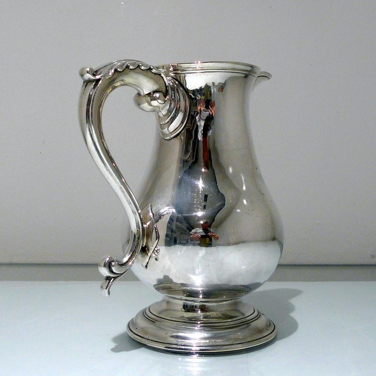 Mid-18th Century Antique George II Sterling Silver Beer Jug London 1759 R A Cox For Sale 4