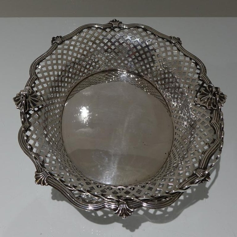 English Mid-18th Century Antique George II Sterling Silver Cake Basket London 1751 Edwar For Sale
