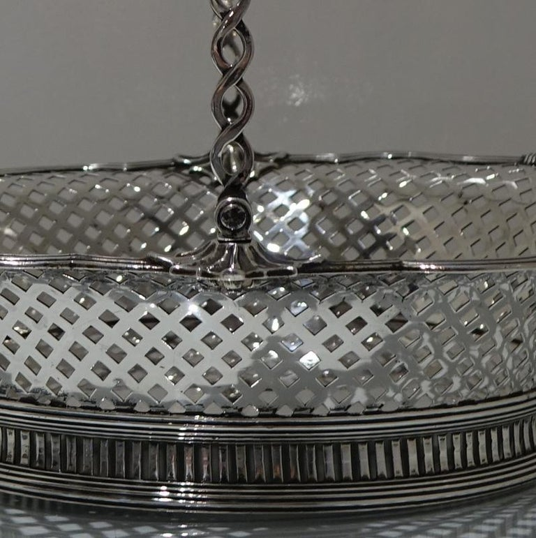 18th Century and Earlier Mid-18th Century Antique George II Sterling Silver Cake Basket London 1751 Edwar For Sale