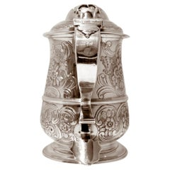 Mid-18th Century Antique George II Sterling Silver Lidded Tankard London 1746