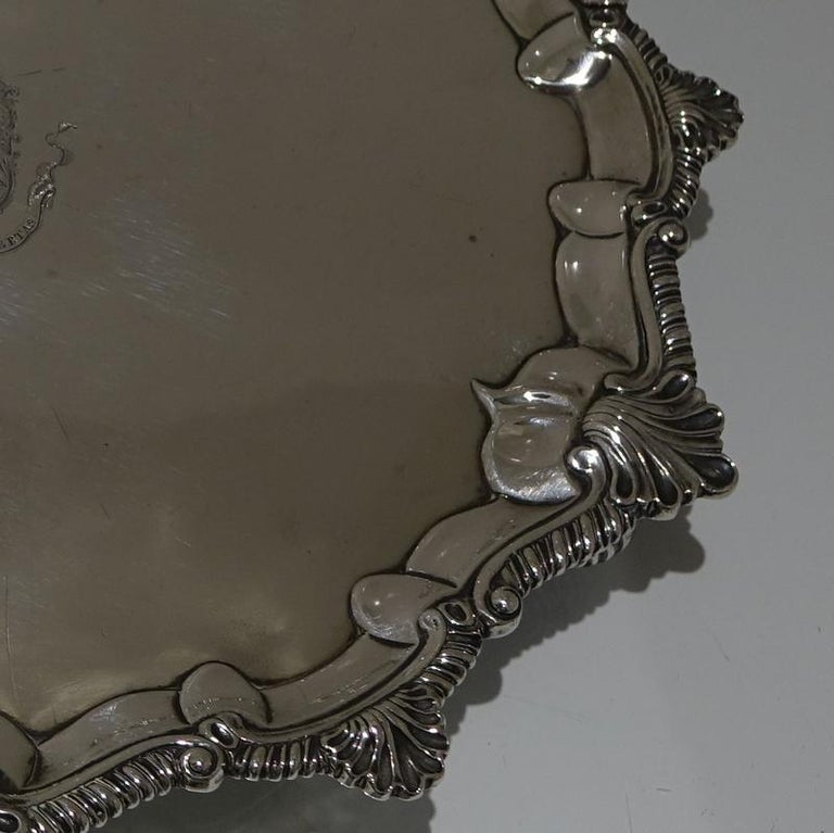 Mid-18th Century Antique George III Sterling Silver Salver London, 1764 In Good Condition For Sale In 53-64 Chancery Lane, London