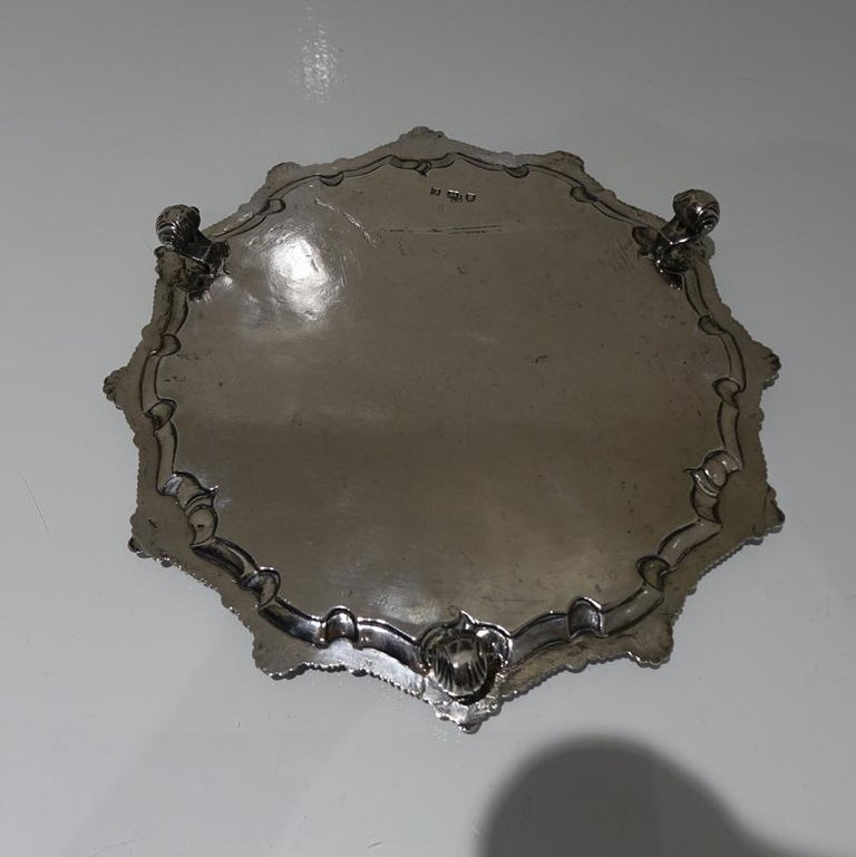 Mid-18th Century Antique George III Sterling Silver Salver London, 1764 For Sale 2