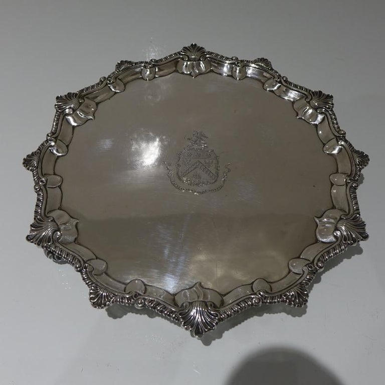 Mid-18th Century Antique George III Sterling Silver Salver London, 1764 For Sale 4