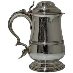 Mid-18th Century Antique George III Sterling Silver Tankard & Cover London 1765