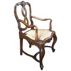 Italy Venezi Mid-18th Century Antique Hand-Carved Louis XV Style Walnut Armchair